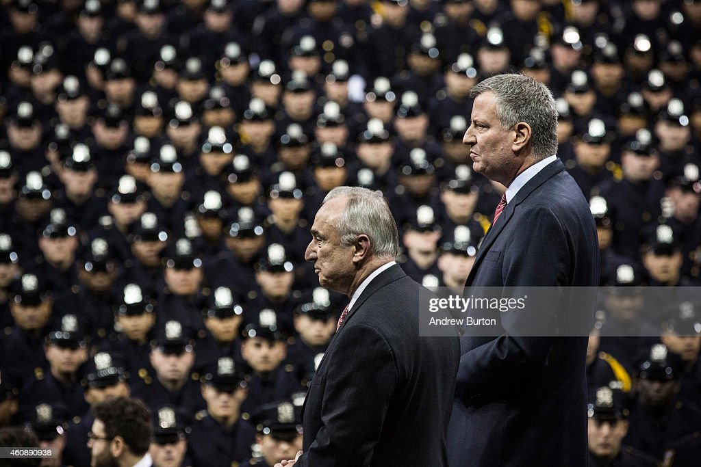 New York Police Department Commissioner Bill Bratton and New York City Mayor Bill de Blasio attend a NYPD graduation ceremony at Madison Square...