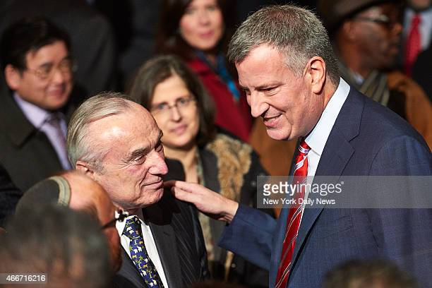 New York Police Department commissioner Bill Bratton and New York City Mayor Bill de Blasio after de Blasio delivered his State of the City speech at...