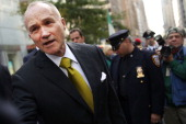 New york Police Department Commissioner Raymond Kelly is viewed as he marches in the 69th Annual Columbus Day Parade on October 14 2013 in New York...