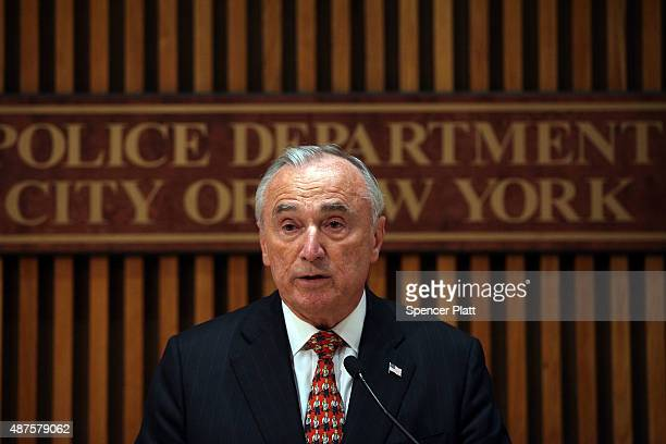 New York Police Department Commissioner William J Bratton speaks at a news conference on the mistaken arrest of James Blake a retired top10...