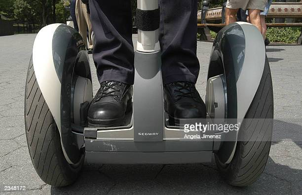 New York Police Department officer demonstrates the use of the Segway Human Transport in Central Park July 30 2003 in New York City The NYPD is...