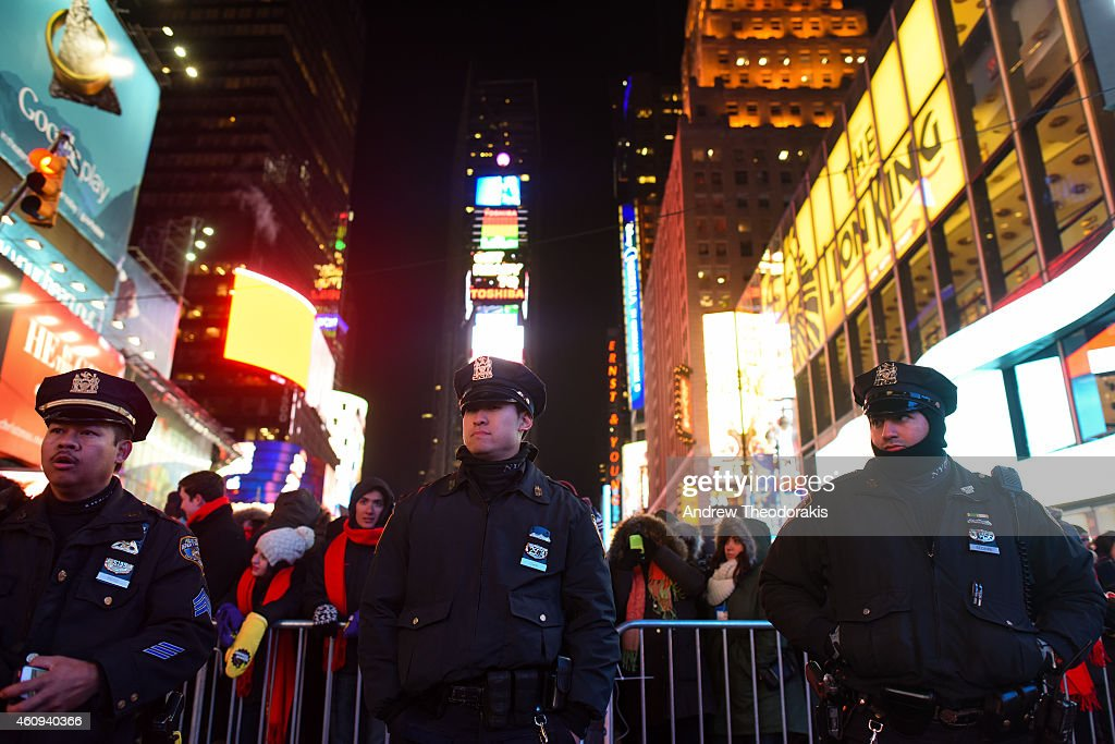 New York Police Department patrol in Times Square on December 31 2014 in New York City With an estimated one million people packing into Times Square...