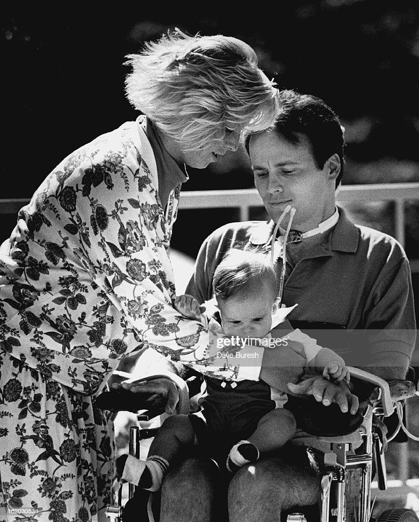 JUL 9 1987; New York police officer Steven McDonald appeared at a news conference with his wife Patty and their son Conor at Craig Hospital Wednesday.;