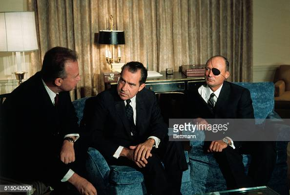 Presidentelect Richard Nixon chats with Israeli Ambassador Yitzhak Rabin left Israeli Defense Minister Moshe Dayan second from right and Nixon's...