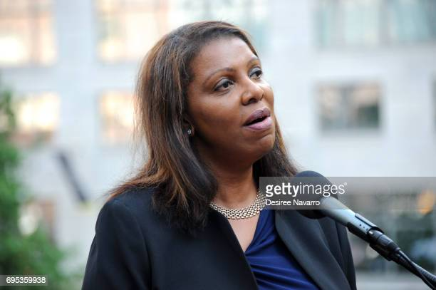 New York Public Advocate Letitia James attends Anne Frank Tree Dedication at Liberty Park on June 12 2017 in New York City