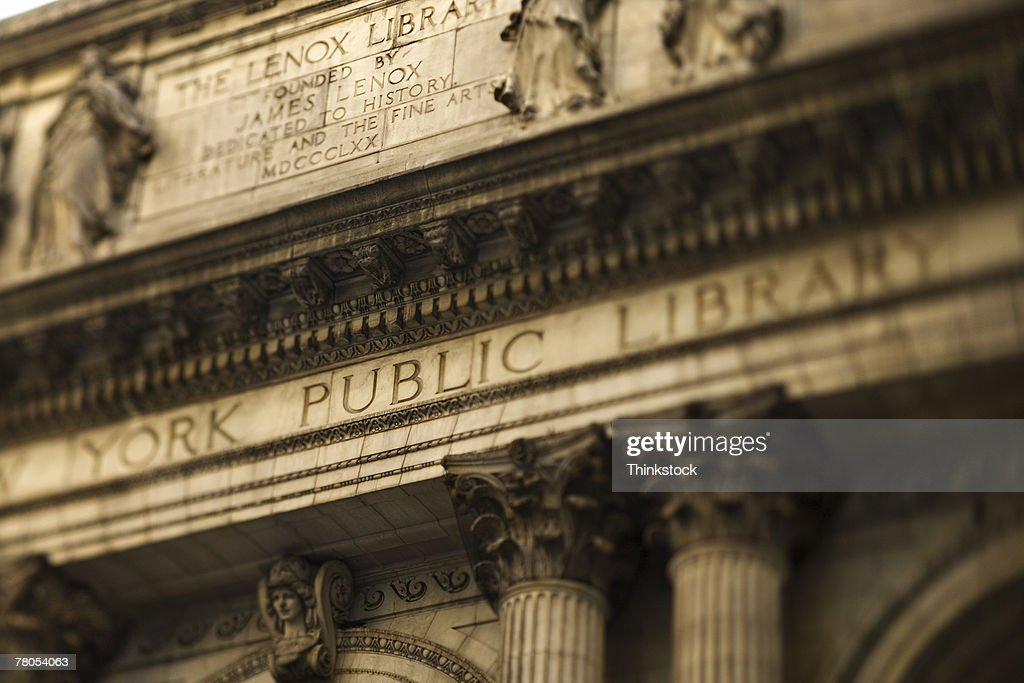 New York Public Library text above entrance, Manhattan, New York City, NY