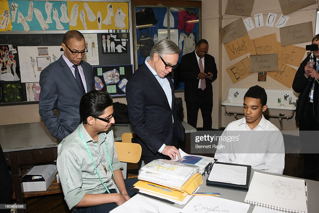 New York Public Schools Chancellor Dennis Walcott and Designer Tommy Hilfiger attend the High School For Fashion Industries during the Tommy Hilfiger And Chancellor Walcott Kick Off Fashion Week By Going Back To School at High School For Fashion Industries on February 7, 2013 in New York City.
