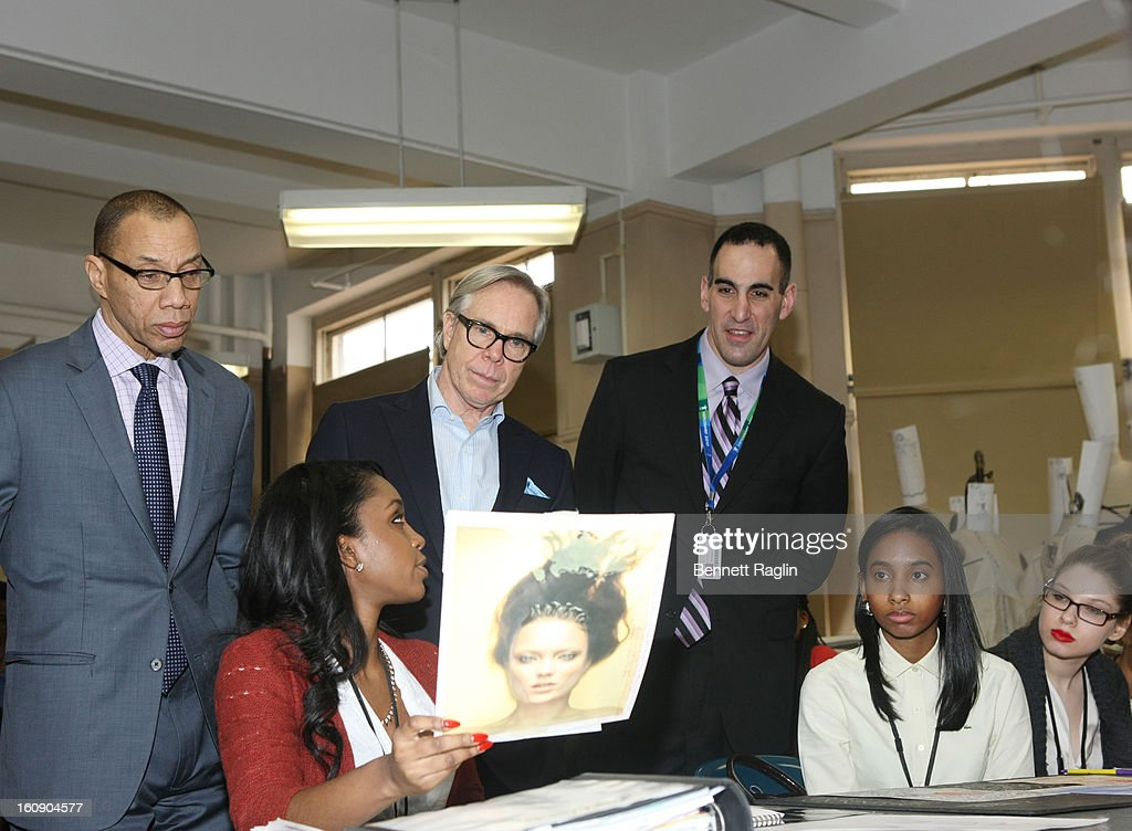 New York Public Schools Chancellor Dennis Walcott, designer Tommy Hilfiger, and principle Daryl Blank attend the High School For Fashion Industries during the Tommy Hilfiger And Chancellor Walcott Kick Off Fashion Week By Going Back To School at High School For Fashion Industries on February 7, 2013 in New York City.