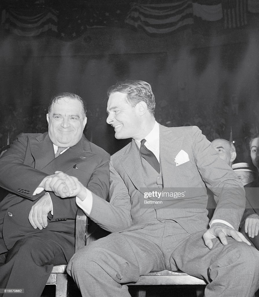 Rally Against Hitler Atrocities. Mayor La Guardia of New York and Sen. Henry Cabot Lodge of Massachusetts were speakers July 21 at a mass demonstration against Hitler Atrocities held at Madison Square Garden under auspices of three Jewish groups.