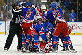 New York Rangers and the Washington Capitals mix it up in Game One of the Eastern Conference Semifinals during the 2015 NHL Stanley Cup Playoffs at...