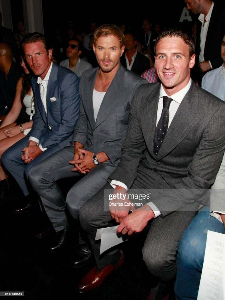 New York Rangers Brad Richards, Kellan Lutz and Olympic medalist swimmer Ryan Lochte attend the Joseph Abboud Spring 2013 Mercedes-Benz Fashion Week Show at The New York Library on September 5, 2012 in New York City.