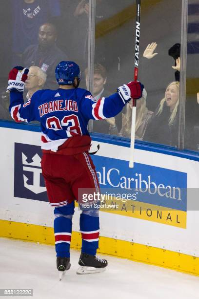 New York Rangers Center Mika Zibanejad crashes into the glass after scoring during the first period of the New York Rangers home opener against the...