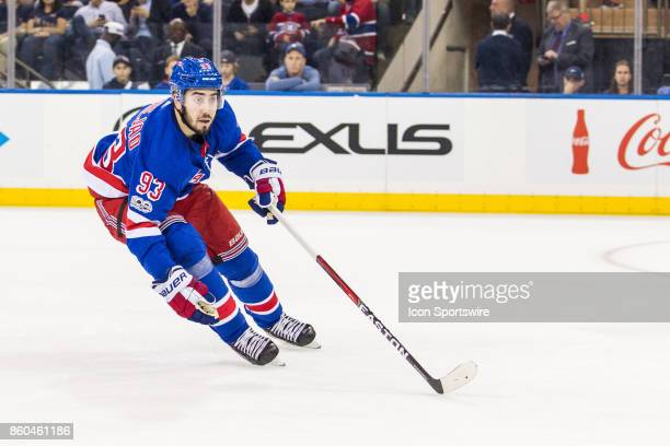 New York Rangers Center Mika Zibanejad in action during the first period of a regular season NHL game between the Montreal Canadiens and the New York...