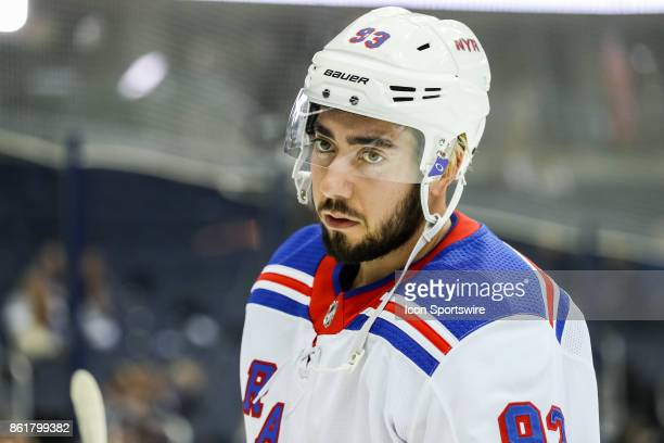 New York Rangers center Mika Zibanejad looks on during warmups before a game between the Columbus Blue Jackets and the New York Rangers on October 13...