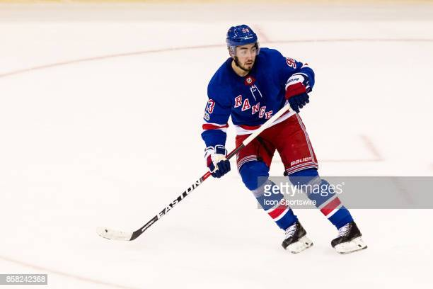New York Rangers Center Mika Zibanejad waits at the point during the first period of the New York Rangers home opener against the Colorado Avalanche...