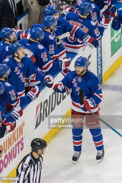 New York Rangers center Oscar Lindberg hi fives the bench for the second time in the second period of game 4 of the second round of the 2017 Stanley...