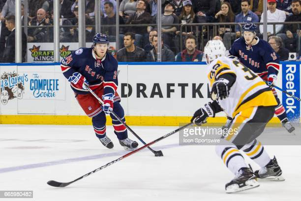 New York Rangers Center Oscar Lindberg takes the puck into the Penguins zone during the first period of a Metropolitan Divisional matchup between the...