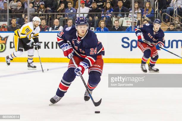 New York Rangers Center Oscar Lindberg works into the Penguins zone during the first period of a Metropolitan Divisional matchup between the...