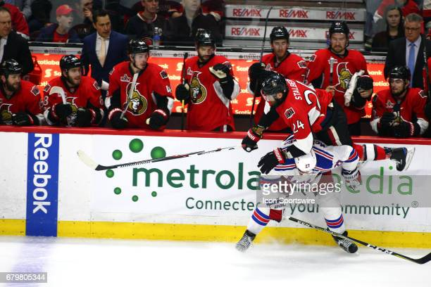 New York Rangers Defenceman Ryan McDonagh with a hip check on Ottawa Senators Left Wing Viktor Stalberg in the second period of Game 5 of the 2nd...