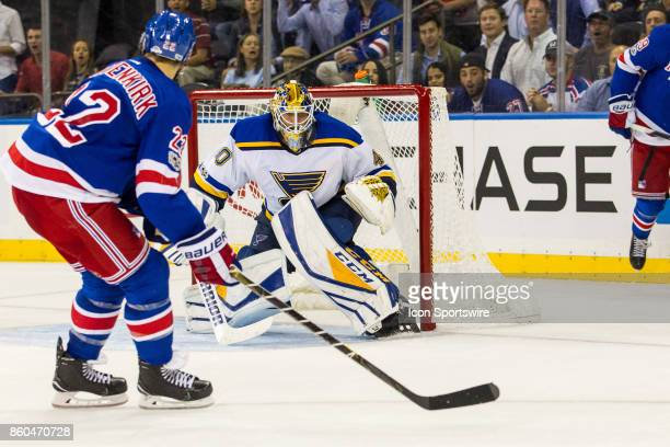 New York Rangers Defenseman Kevin Shattenkirk misses a centering pass in front of the net during the third period of a regular season NHL game...