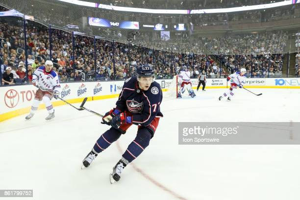 New York Rangers defenseman Tony DeAngelo skates up the ice during the third period in a game between the Columbus Blue Jackets and the New York...