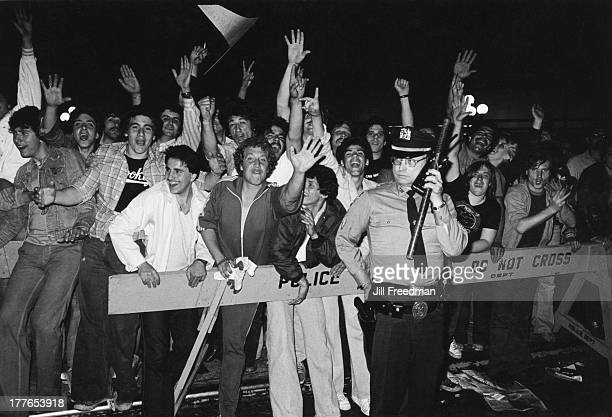 New York Rangers fans gather outside Madison Square Garden after a game New York City 1980