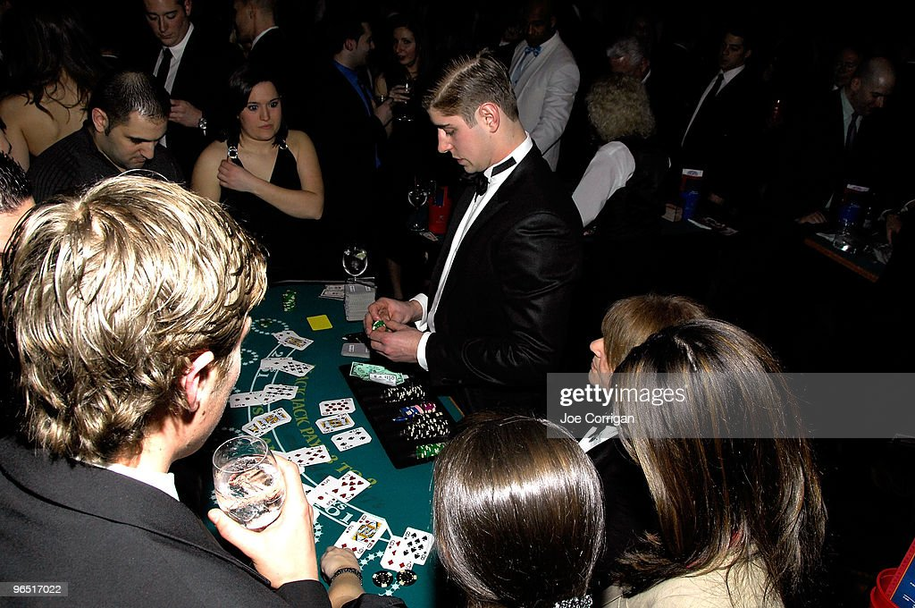 New York Rangers forward <a gi-track='captionPersonalityLinkClicked' href=/galleries/search?phrase=Brandon+Dubinsky&family=editorial&specificpeople=2271907 ng-click='$event.stopPropagation()'>Brandon Dubinsky</a> dealing cards to guests during casino night to benefit the Garden Of Dreams Foundation at Gotham Hall on February 8, 2010 in New York City.