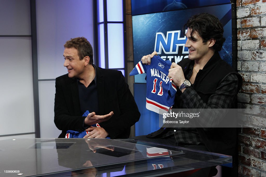 New York Rangers forward Brian Boyle, actor <a gi-track='captionPersonalityLinkClicked' href=/galleries/search?phrase=Jason+Segel&family=editorial&specificpeople=2220388 ng-click='$event.stopPropagation()'>Jason Segel</a> and his THE MUPPETS movie co-star, Walter, on the set of Cisco NHL Live! at the NHL Powered by Reebok store on November 21, 2011 in New York City.