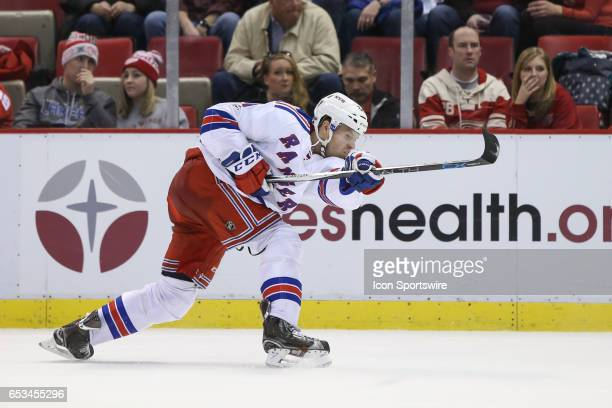 New York Rangers forward Oscar Lindberg of Sweden fires a slapshot on goal during the second period of a regular season NHL hockey game between the...