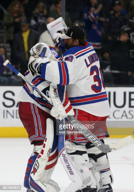 New York Rangers Goalie Henrik Lundqvist congratulates New York Rangers Goalie Antti Raanta after defeating the Los Angeles Kings 30 on March 25 at...