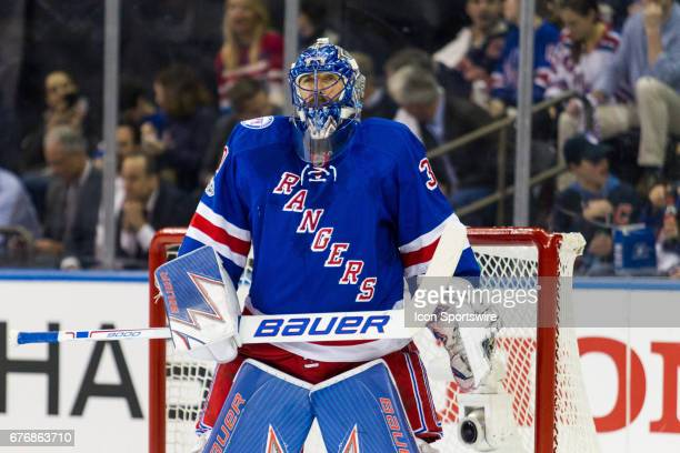 New York Rangers goalie Henrik Lundqvist gets ready for a face off in the Rangers zone during the second period of game 3 of the second round of the...