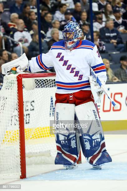 New York Rangers goalie Henrik Lundqvist sets his water bottle down during the first period in a game between the Columbus Blue Jackets and the New...