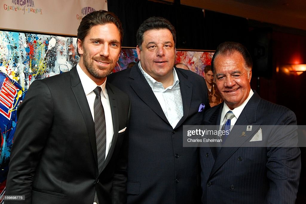 New York Rangers goaltender Henrik Lundqvist, actors Steve Schirripa and Tony Sirico attend the Garden of Dreams Foundation press conference at Madison Square Garden on January 22, 2013 in New York City.