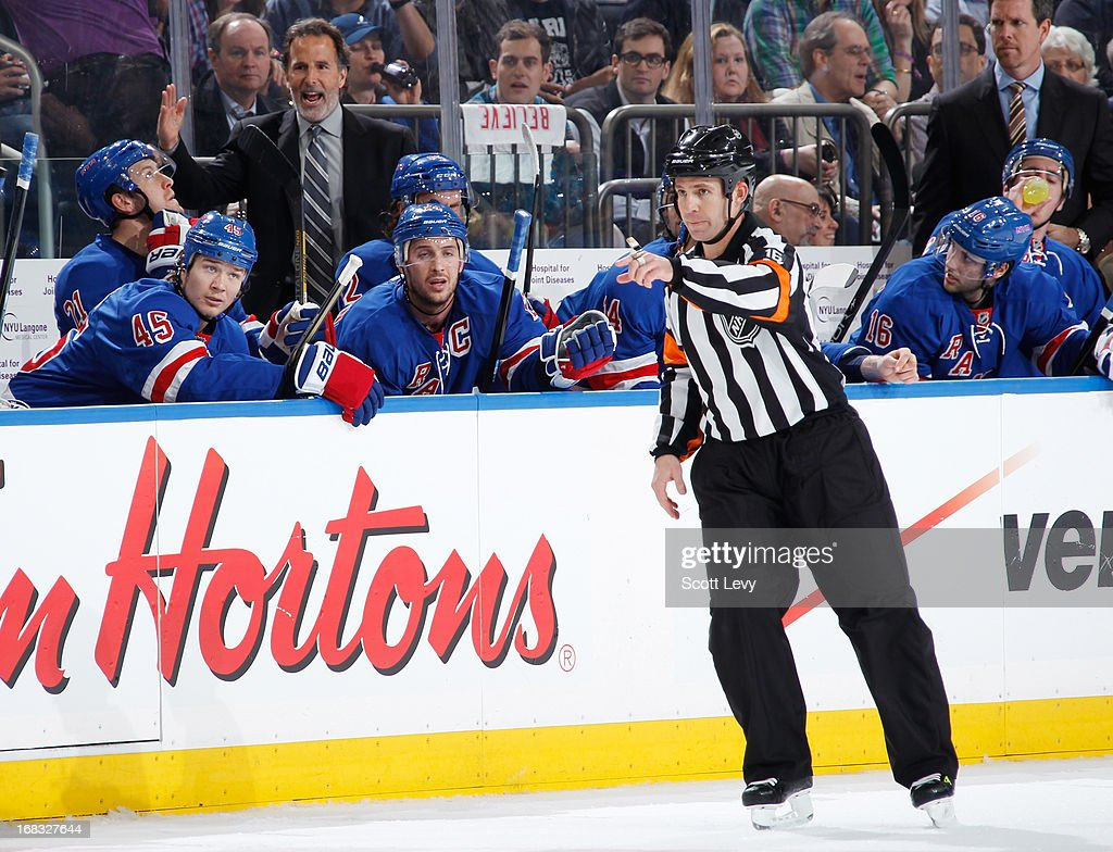 New York Rangers head coach John Tortorella argues a call in the first period against the Washington Capitals in Game Four of the Eastern Conference Quarterfinals during the 2013 NHL Stanley Cup Playoffs at Madison Square Garden on May 8, 2013 in New York City.