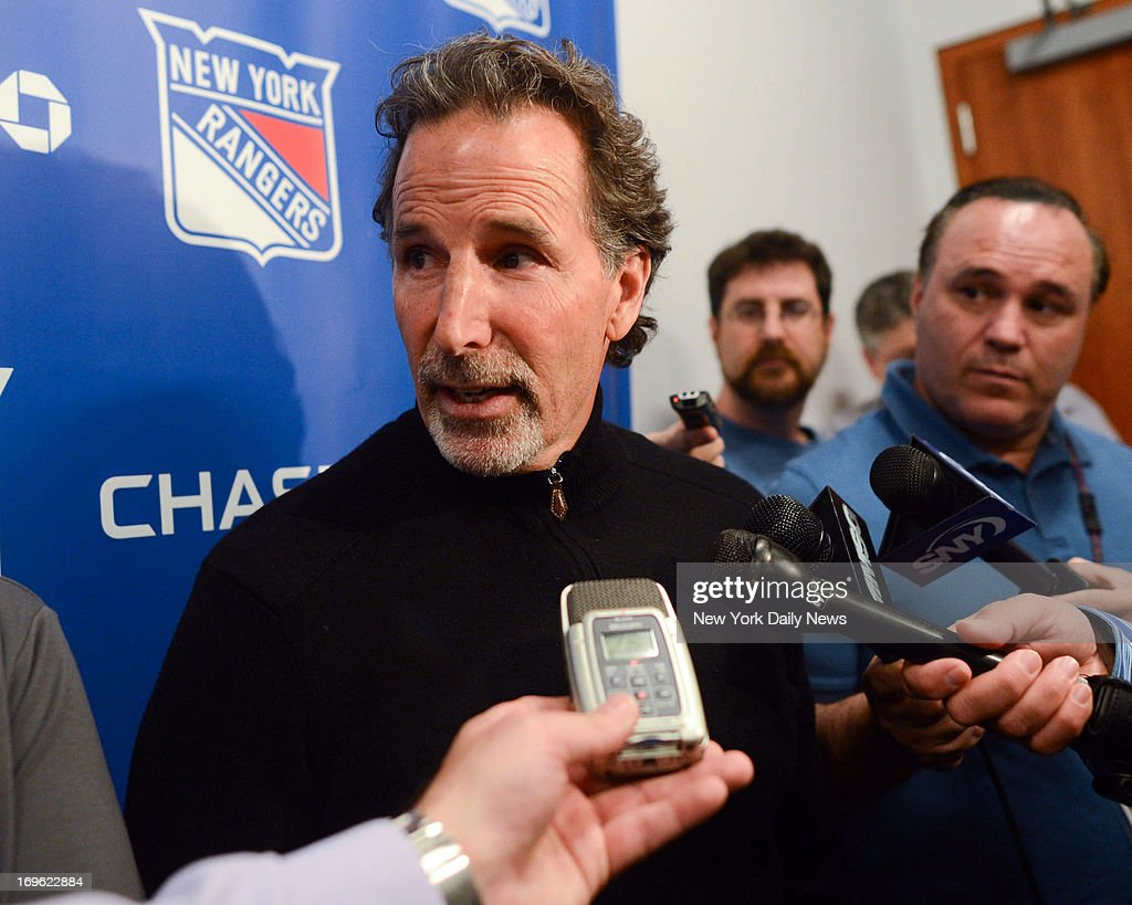 New York Rangers head coach John Tortorella talks to the media at the practice facility after losing in the NHL playoffs to the Boston Bruins.