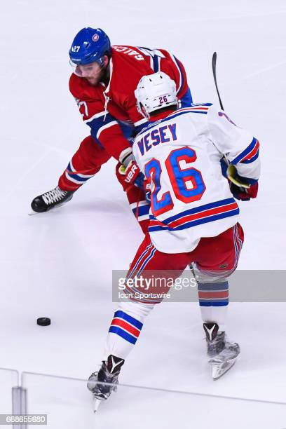 New York Rangers left wing Jimmy Vesey stops Montreal Canadiens center Alex Galchenyuk during game 2 of the first round of the 2017 NHL Stanley Cup...