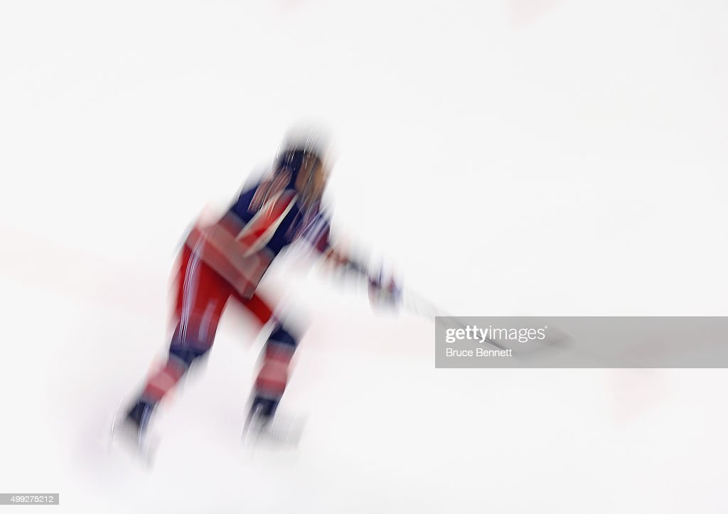 A New York Rangers player skates in warmups prior to the game against the Philadelphia Flyers at Madison Square Garden on November 28, 2015 in New York City.