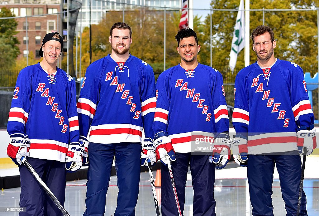 New York Rangers players Antti Raanta, Dylan McIlrath, Emerson Etem and Jarrett Stoll attend the New York Rangers and the Cast of IFCÕs Hockey Comedy Benders Face Off event at Lasker Rink on October 29, 2015 in New York City.