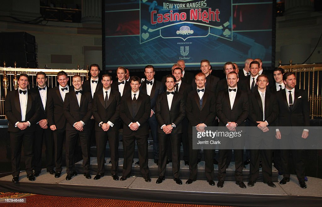 New York Rangers pose for a team photo at the 2013 New York Rangers Casino Night at Gotham Hall on March 1, 2013 in New York City.