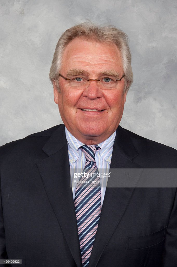 New York Rangers President and General Manager <a gi-track='captionPersonalityLinkClicked' href=/galleries/search?phrase=Glen+Sather&family=editorial&specificpeople=207190 ng-click='$event.stopPropagation()'>Glen Sather</a>staff poses for a headshot at the MSG Training Center on September 5, 2009 in Tarrytown, New York.