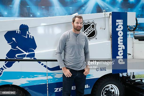 New York Rangers Star Rick Nash attends the unveiling of PLAYMOBIL's new NHL Toy Line at NHL Powered by Reebok Store on October 1 2015 in New York...