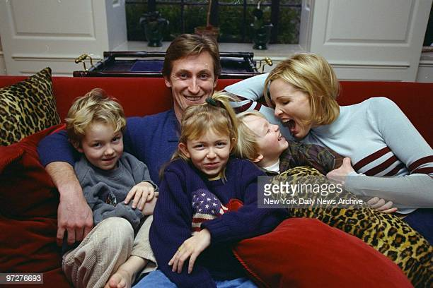 New York Rangers' Wayne Gretzky and wife Janet Jones at home with children Trevor Pauline and Ty
