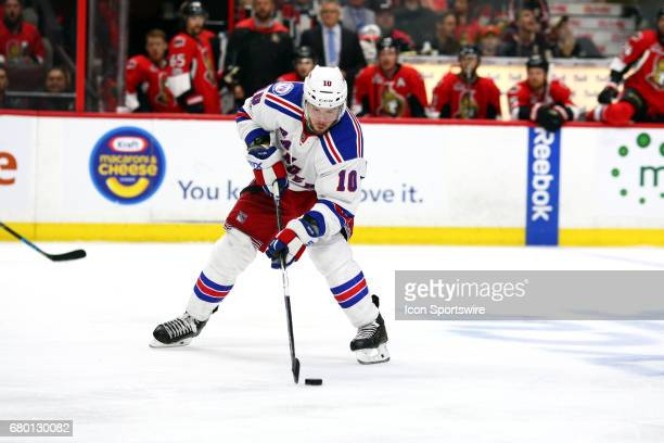 New York Rangers Winger JT Miller gets the puck set for a shot on goal during the third period of Game 5 of the 2nd round of the 2017 NHL Stanley Cup...