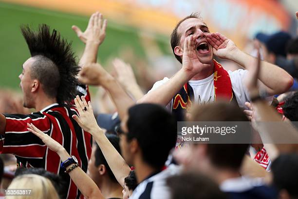 New York Red Bulls fans cheer against the Chicago Fire at Red Bull Arena on October 6 2012 in Harrison New Jersey