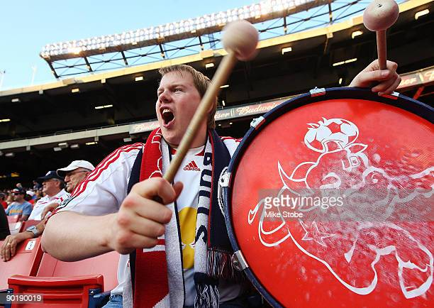 New York Red Bulls fans cheer on their team against the Columbus Crew at Giants Stadium in the Meadowlands on August 30 2009 in East Rutherford New...