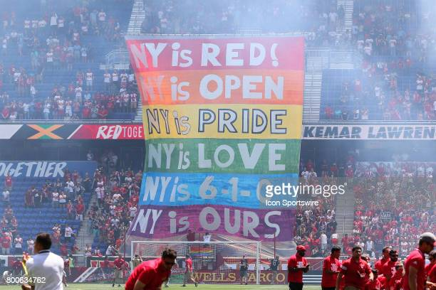 New York Red Bulls fans raise a rainbow Pride banner prior to the first half of the Major League Soccer game between the New York Red Bulls and New...