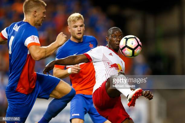 New York Red Bulls forward Bradley WrightPhillips fields a kick against FC Cincinnati during the semifinal match of the 2017 Lamar Hunt US Open Cup...