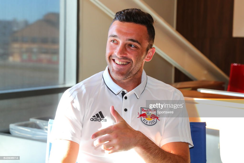 New York Red Bulls forward Brandon Allen (21) answers questions from members of the media during New York Red Bulls Media Day on February 20, 2017, at Red Bull Arena in Harrison, NJ.