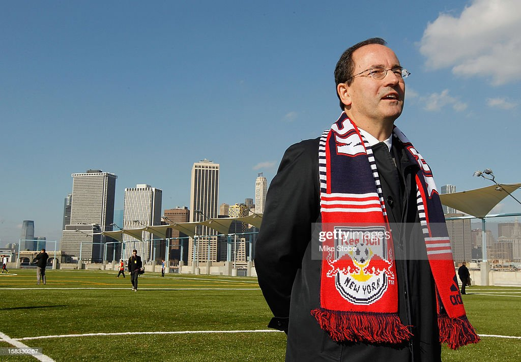 New York Red Bulls General Manager Jerome de Bontin speaks to the media during a ribbon-cutting ceremony at Brooklyn Bridge Park on December 13, 2012 in New York City.