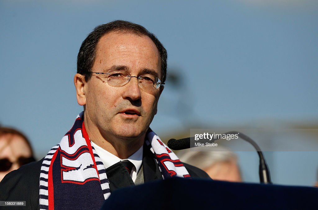 New York Red Bulls General Manager Jerome de Bontin speaks to the media during a ribbon-cutting ceremony to open a new soccer field on Brooklyn's Pier 5 on December 13, 2012 in New York City.